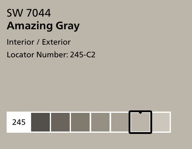 Picking paint color using Sherwin Williams SW 7044 Amazing Gray screen shot from website