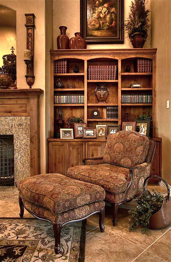 brown walls and stained bookshelves