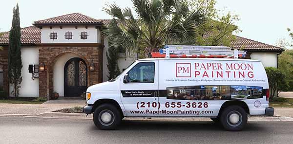 Paper Moon Painting company van, exterior painters San Antonio
