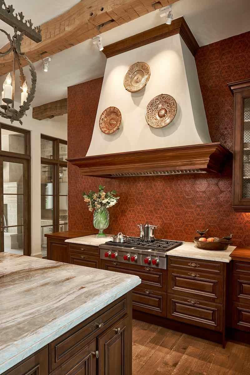 Plaster range hood and ceiling in Olmos Park kitchen, Paper Moon Painting, San Antonio