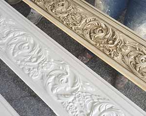 Glazed trim with antiquing glaze by Paper Moon Painting artisans