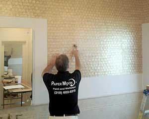 Paper Moon Painting wallpaper hanger installing mica wallpaper