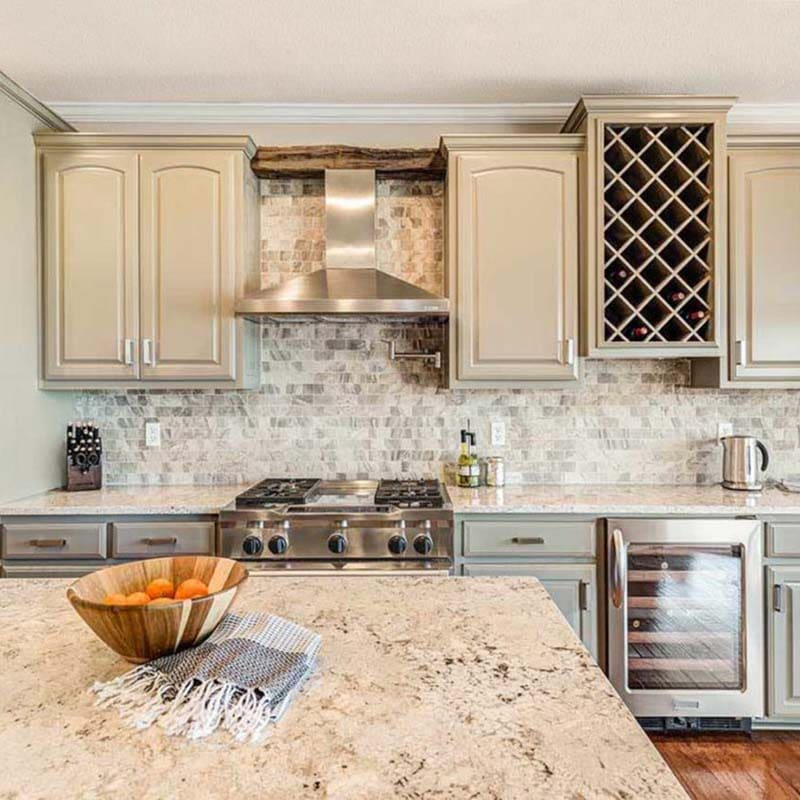 Painted kitchen cabinets in Sherwin Williams SW 9171 Felted Wool by Paper Moon Painting, Austin painter