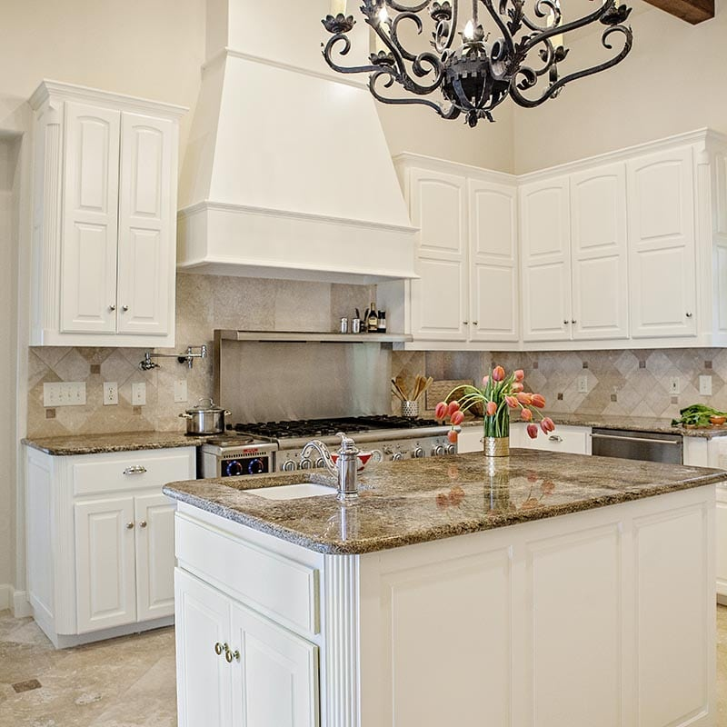 White cabinets painted in Benjamin Moore BM OC-45 Swiss Coffee, Paper Moon Painting