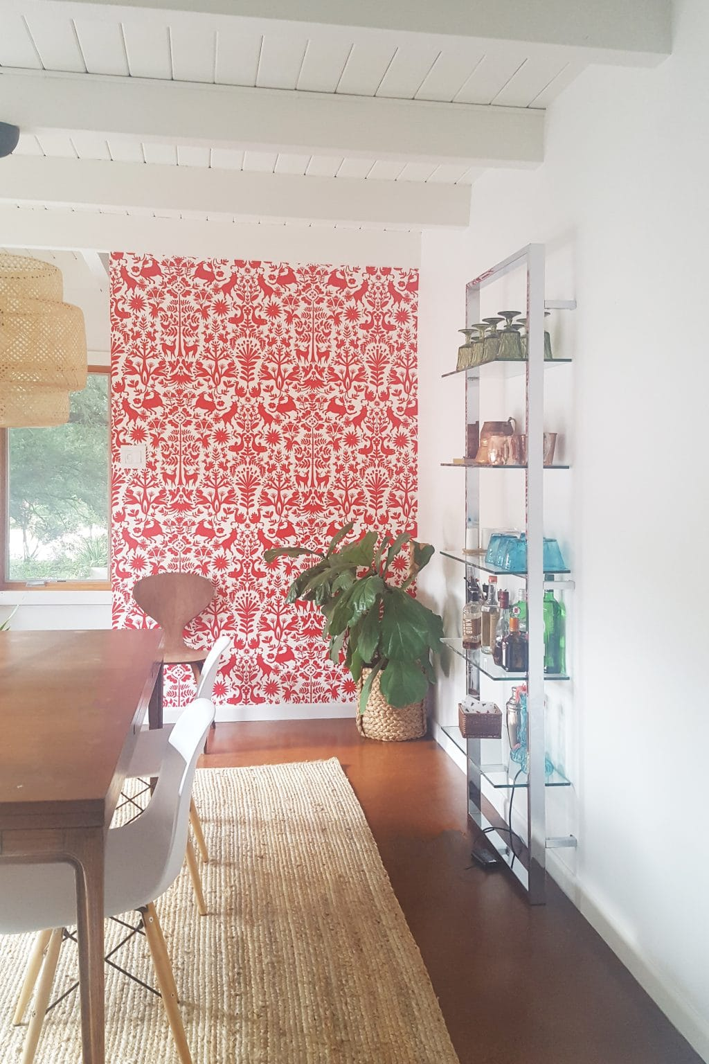 Wallpaper installation by Paper Moon Painting, San Antonio, red and white