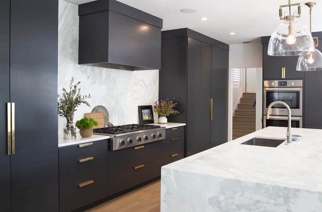 Black kitchen cabinets painted in Benjamin Moore BM 2124-10 Wrought Iron by Paper Moon Painting, Austin