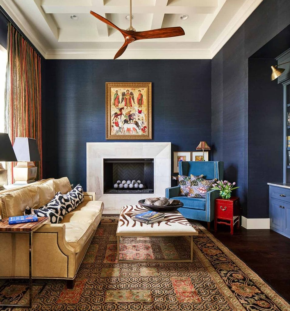 Blue grasscloth wallpaper installation in home office living room