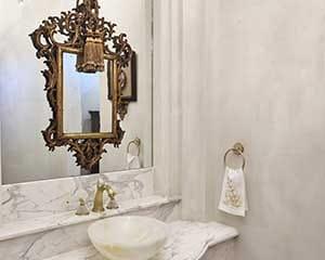 European custom plaster finish stucco powder bath