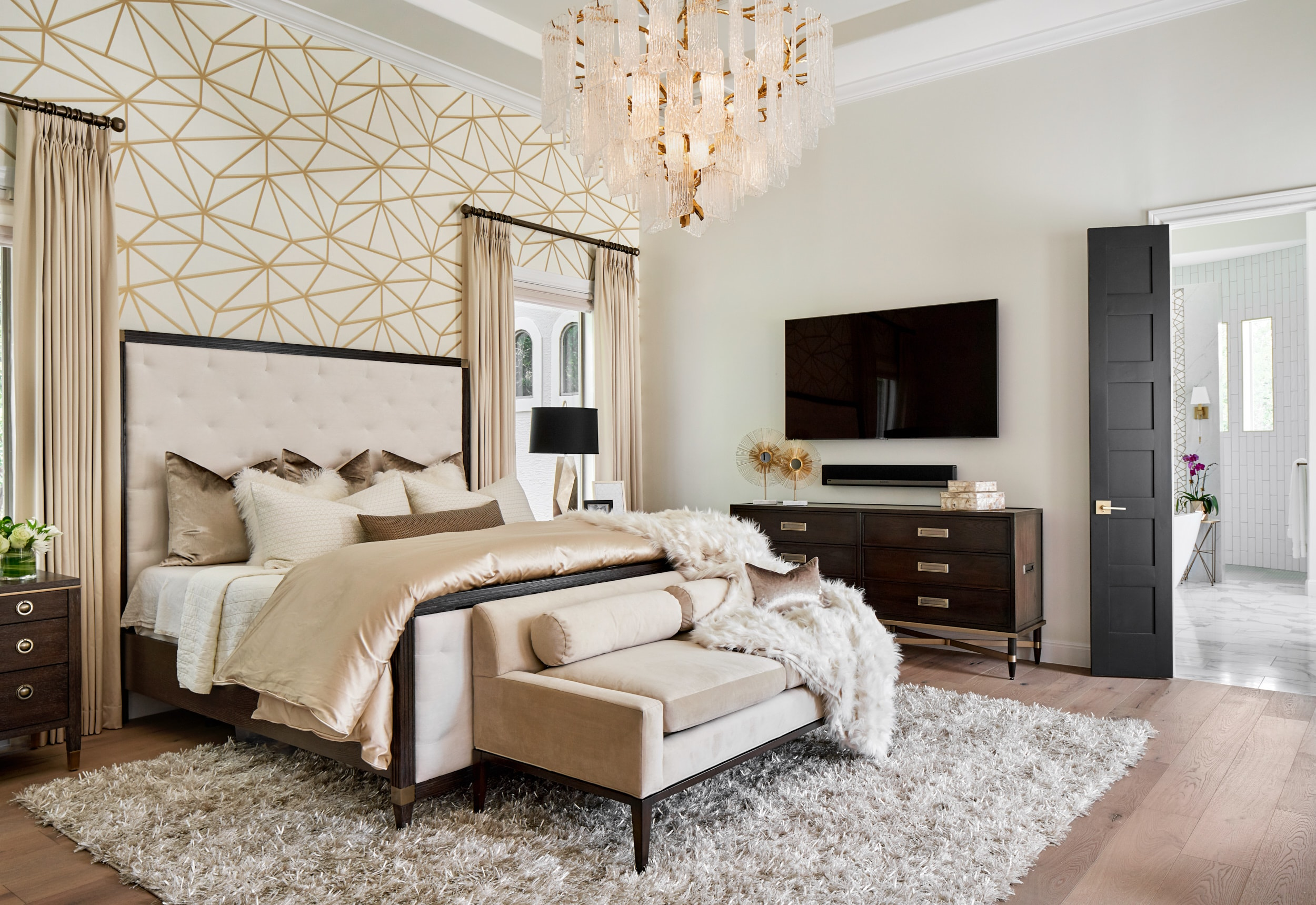 Master bedroom accent wall, wallpaper, Paper Moon Painting San Antonio
