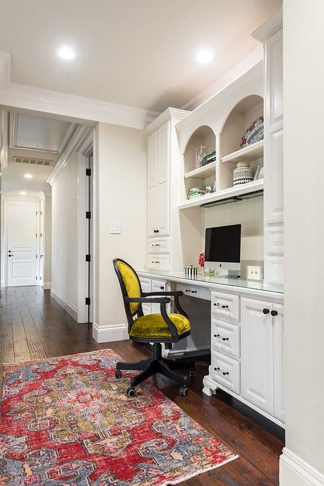 Built-in desk alcove, white cabinets, Paper Moon Painting house painter, Alamo Heights
