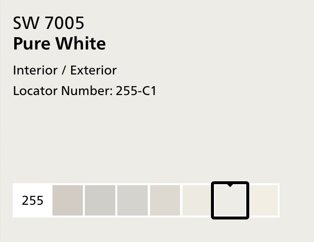 Sherwin Williams SW 7005 Pure White screen shot from website
