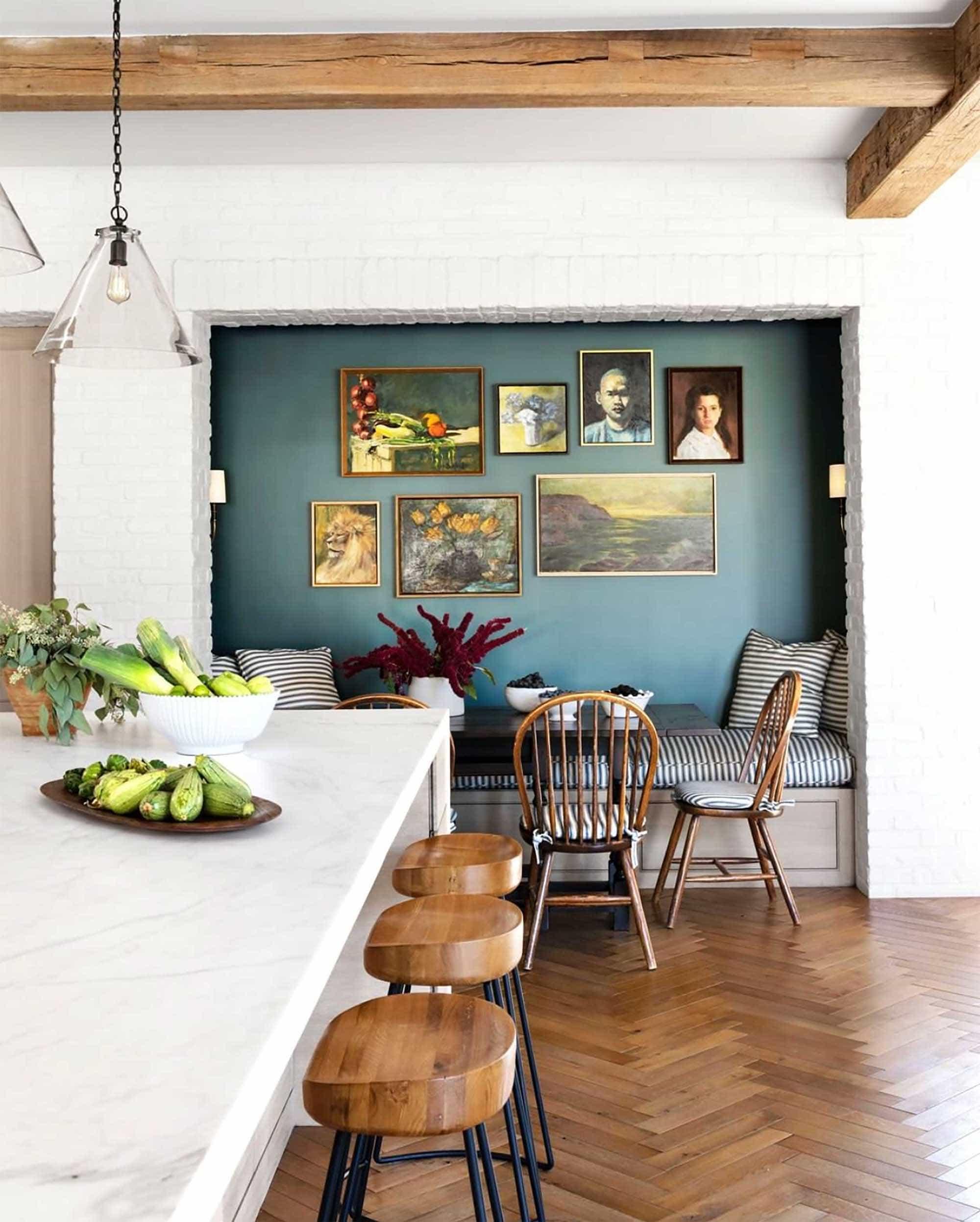 Accent wall niche, Molly Britt kitchen, via House Beautiful