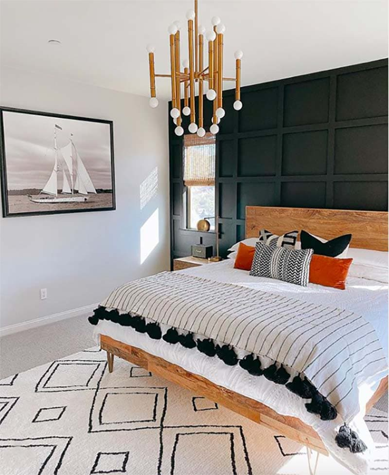 Black painted accent headboard board and batten wall by House of Hanes Interiors