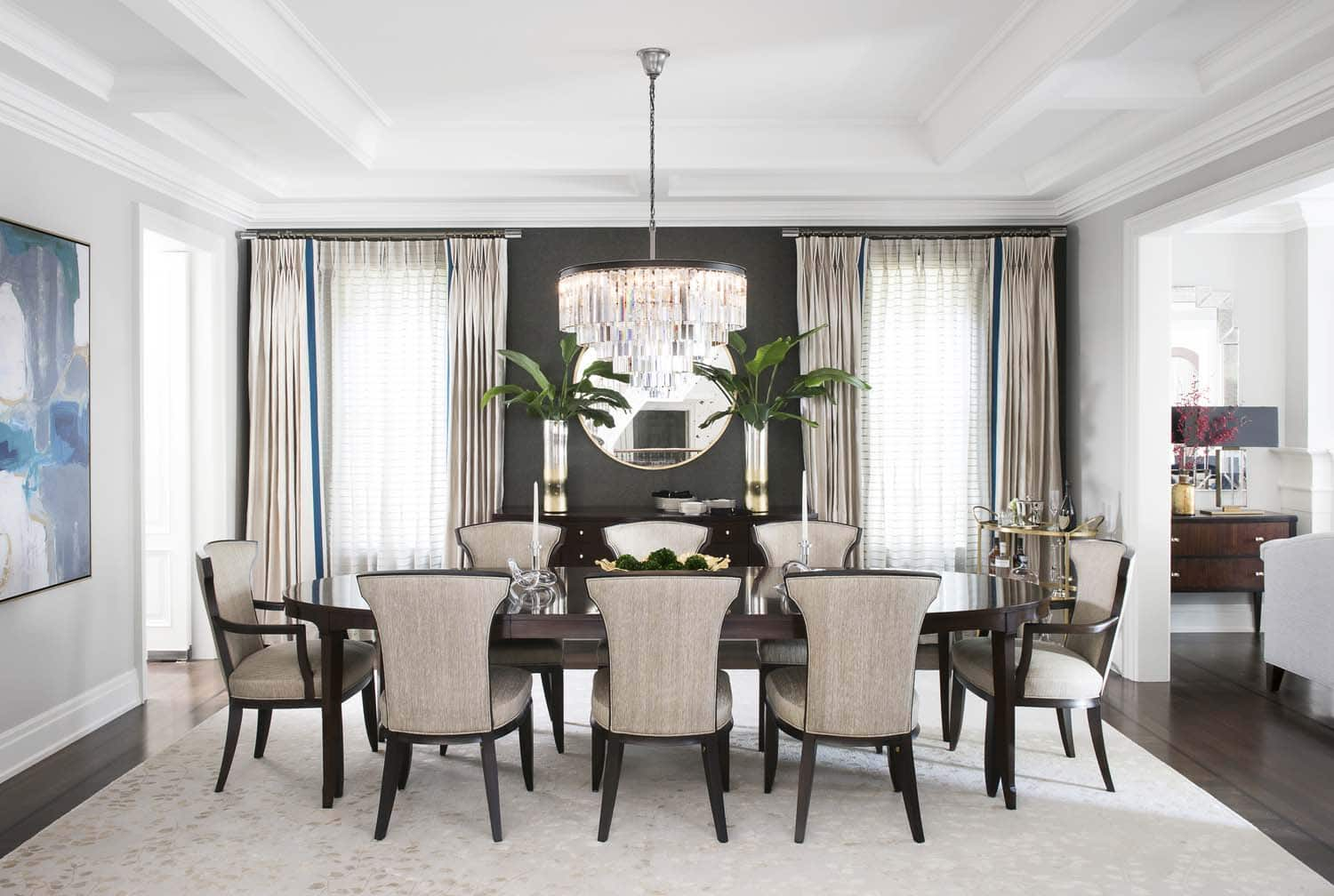 Laura Stein Interiors dining room accent wall, Paper Moon Painting blog