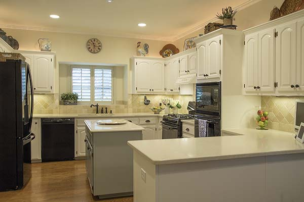 Painted kitchen before mockup of accent wall, example