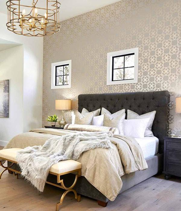 Bedroom wallpaper installation by Paper Moon Painting, wallpaper hanger