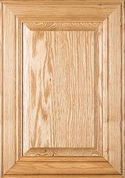 Red oak cabinet door sample, heavy grain