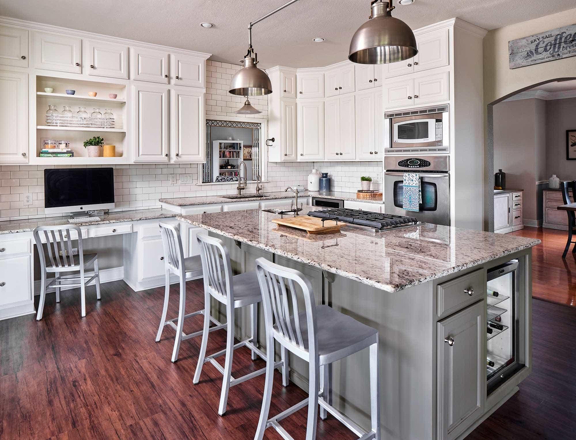 Kitchen cabinets painted in Benjamin Moore Cloud White and Tweed Coat, Paper Moon Painting San Antonio