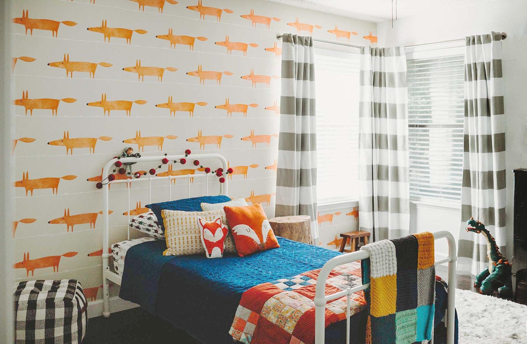 Orange fox wallpaper in kids boys bedroom, headboard wall installation