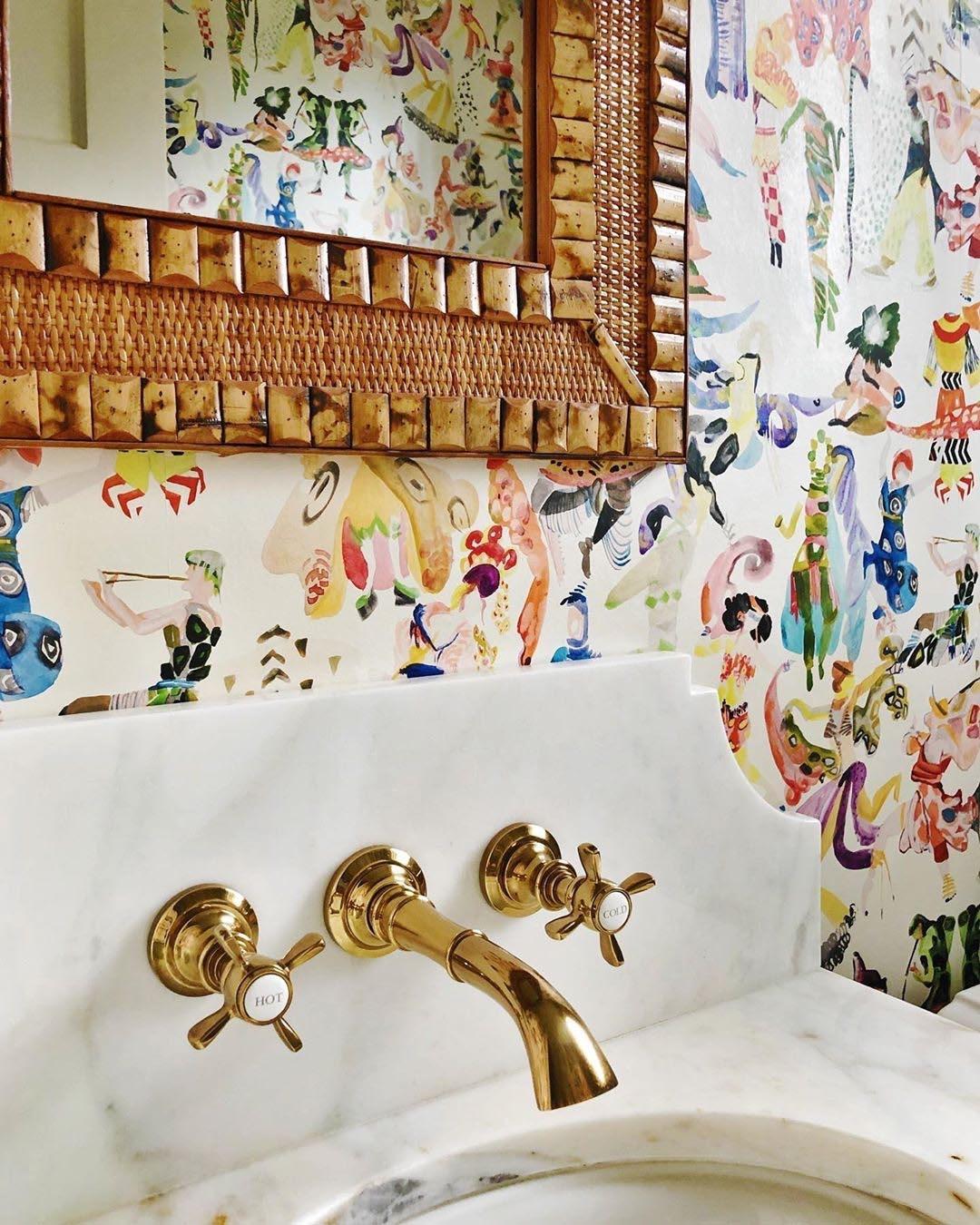 Colorful wallpaper in traditional powder bath, San Antonio TX