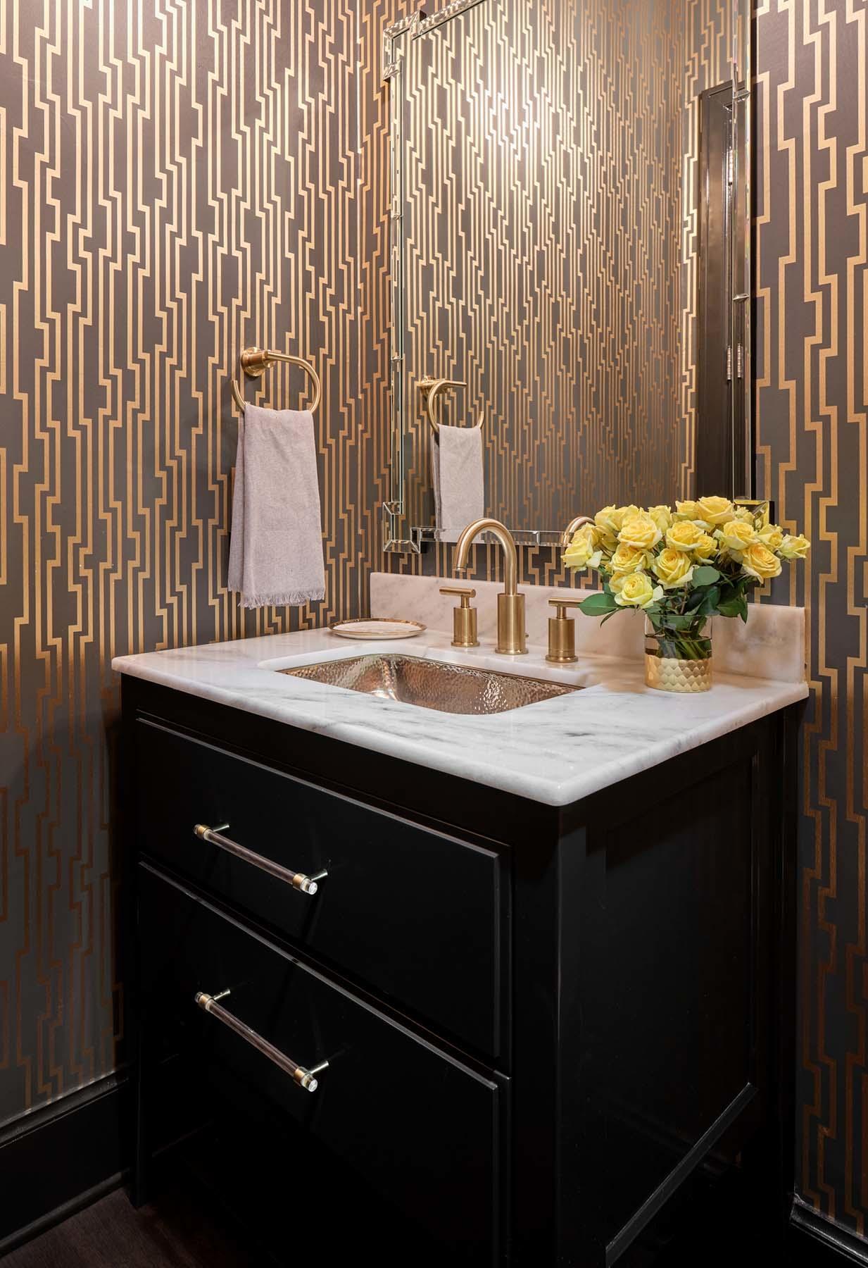 Powder bath Thibaut wallpaper install, vanity cabinet in Sherwin Williams 6258 Tricorn Black, Alamo Heights TX wallpaper installer