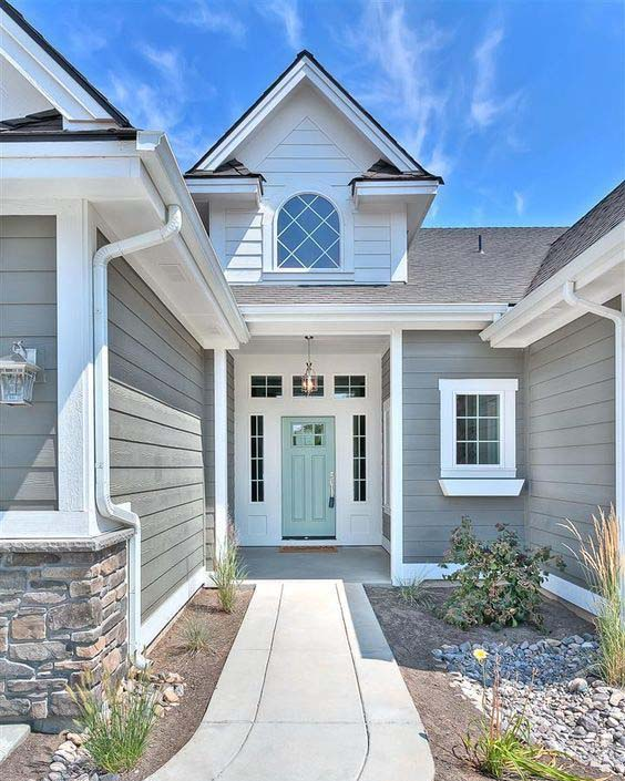 Benjamin Moore Amherst Gray and Wyeth Blue, exterior siding color and front door
