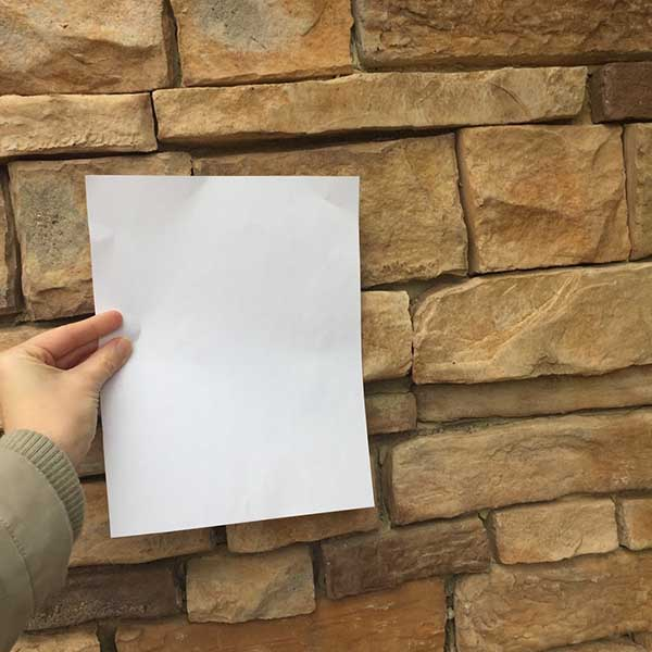 Picking exterior stone undertones with white paper